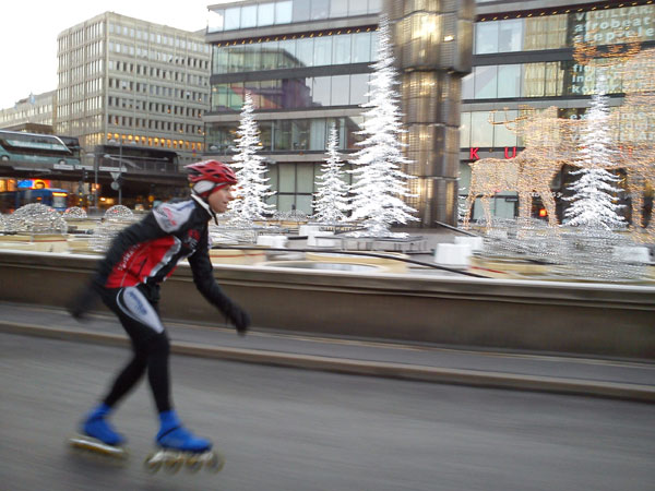 Morning skating in Stockholm.
