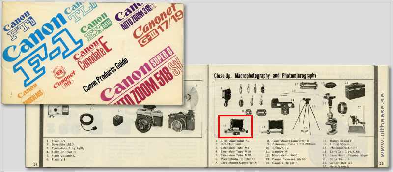 Canon products guide 1972