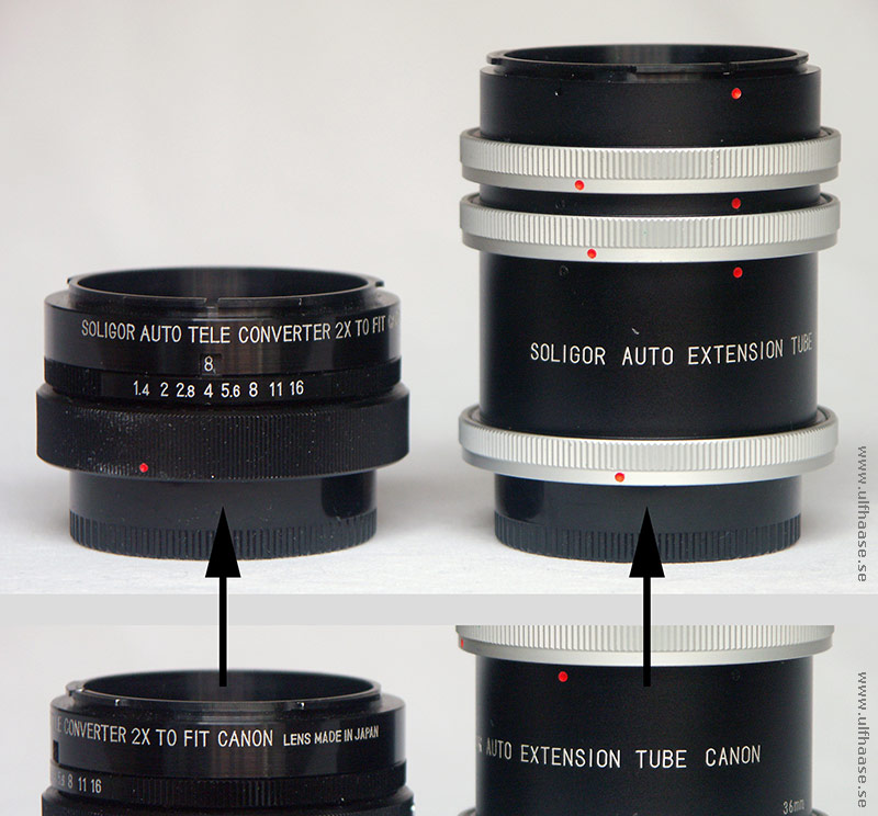 Soligor tele converter for Canon and Soligor extension tubes for Canon