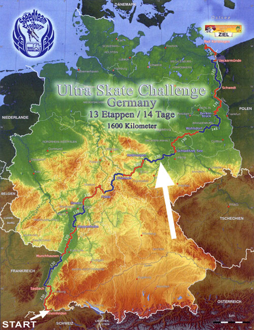 Ultra Skate Challenge Germany 2013, route map made by Michael Seitz.