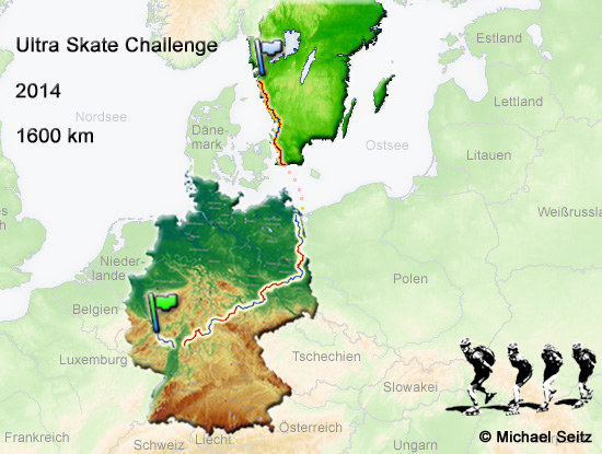 Ultra Skate Challenge 2014, route map made by Michael Seitz.