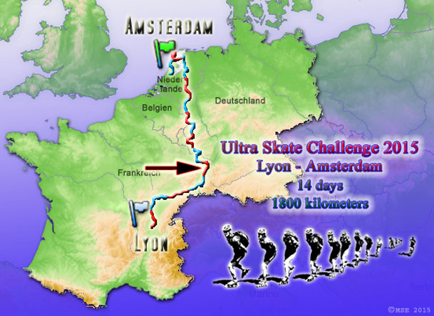 Ultra Skate Challenge 2015, route map made by Michael Seitz.