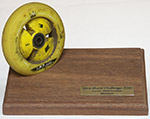 Ultra Skate Challenge 2015. An origial wheel from the tour, a memory crafted by Bernd Gutöhrlein.
