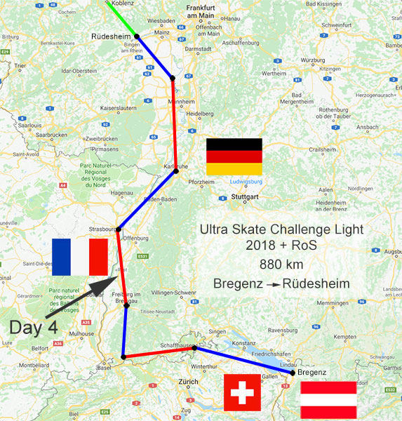 Ultra Skate Challenge Light 2018, route map.